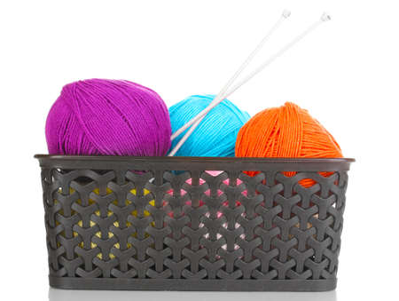 Knitting yarn in plastic basket isolated on white Stock Photo - 14221113