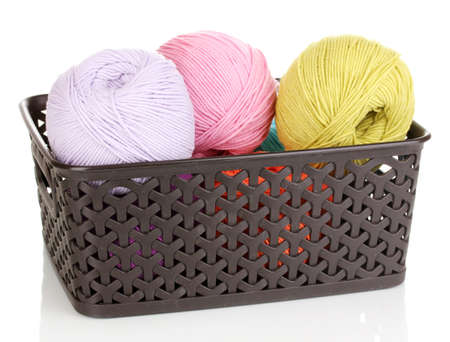 Knitting yarn in plastic basket isolated on white Stock Photo - 14221232