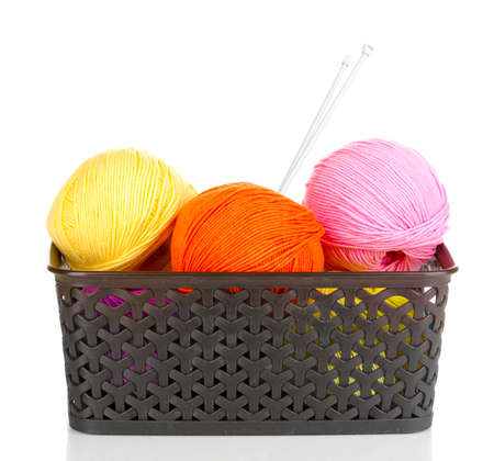 Knitting yarn in plastic basket isolated on white Stock Photo - 14221086