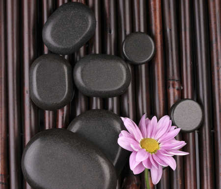 Spa stones and flower on bamboo mat Stock Photo - 14221399