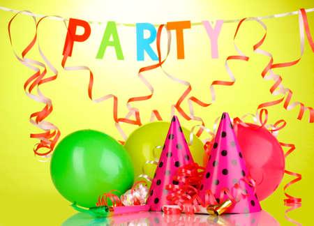 birthday celebration: Party items on green background Stock Photo