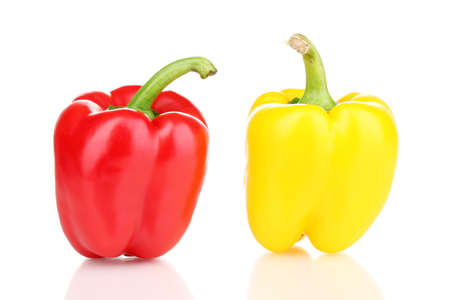 Tasty peppers isolated on white photo
