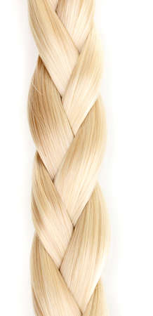 long blonde hair: Blond hair braided in pigtail isolated on white
