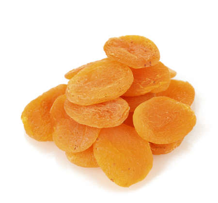 apricots: delicious dried apricots isolated on white Stock Photo