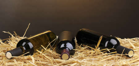Bottles of great wine on hay on brown background
