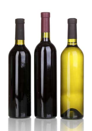 Bottles of great wine isolated on white photo
