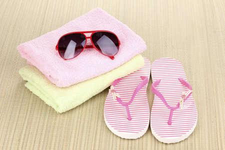 Beach accessories on mat photo
