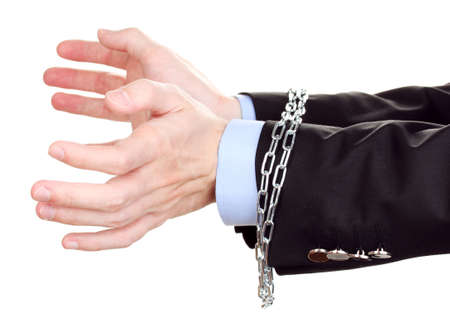 fettered: Businessman hands fettered with chain isolated on white Stock Photo