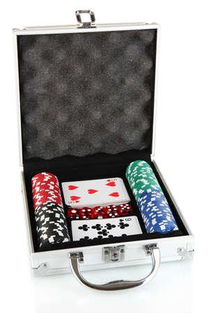 Poker set in metallic case isolated on white background Stock Photo - 14272811