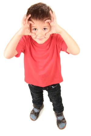 portrait of little boy isolated on white 版權商用圖片