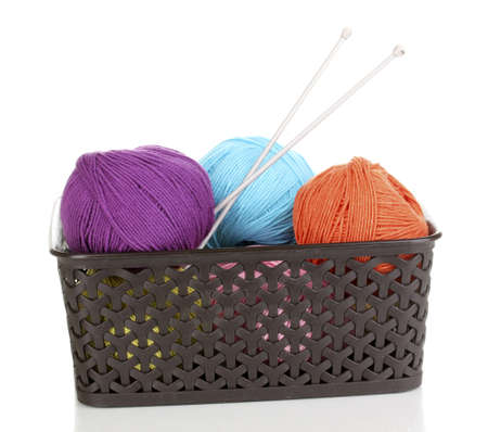 Knitting yarn in plastic basket isolated on white Stock Photo - 14305086