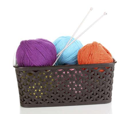 Knitting yarn in plastic basket isolated on white Stock Photo - 14305086