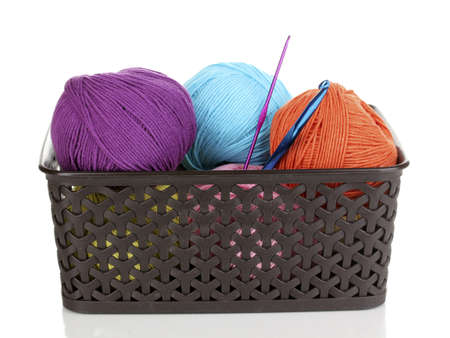 Knitting yarn in plastic basket isolated on white Stock Photo - 14305184