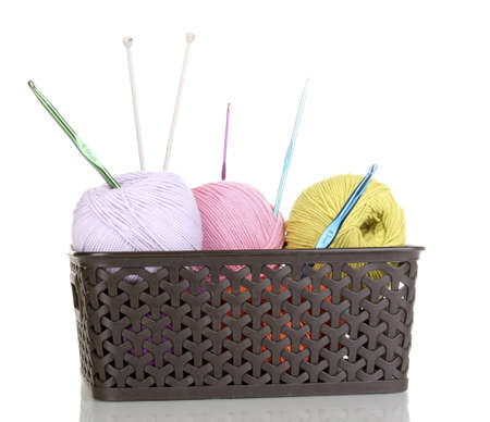 Knitting yarn in plastic basket isolated on white Stock Photo - 14305047
