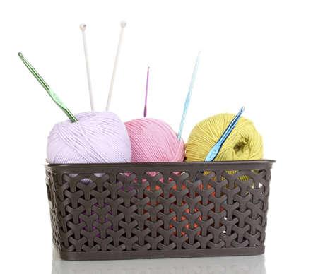 Knitting yarn in plastic basket isolated on white Stock Photo - 14305047