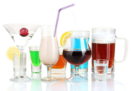 a variety of alcoholic drinks isolated on white photo