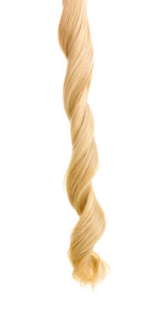 blond streaks: Curly blond hair isolated on white Stock Photo