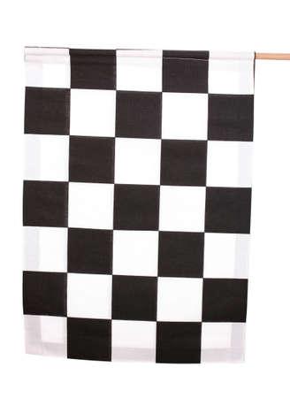 Checkered finish flag isolated on white photo