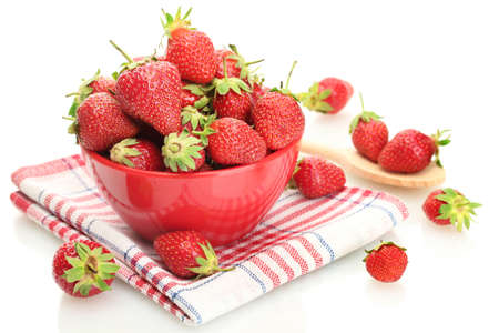 sweet ripe strawberries in bowl isolated on white Stock Photo - 14322036