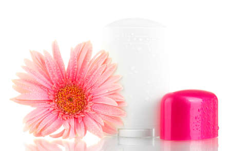 deodorant with flower isolated on white  photo