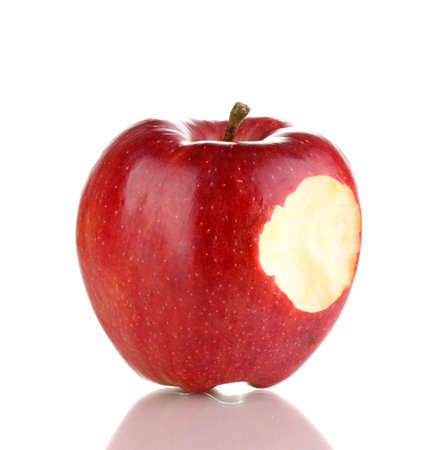 Red bitten apple isolated on white photo