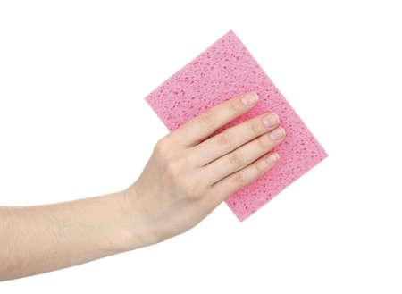 celulosa: Esponja de celulosa aislado en blanco