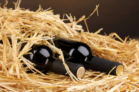 Bottles of great wine on hay on brown background Stock Photo - 14338156