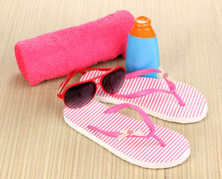 beach mat: Beach accessories on mat