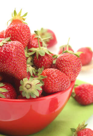 sweet ripe strawberries in bowl isolated on white Stock Photo - 14337960