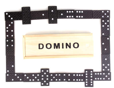 Playing domino isolated on white photo