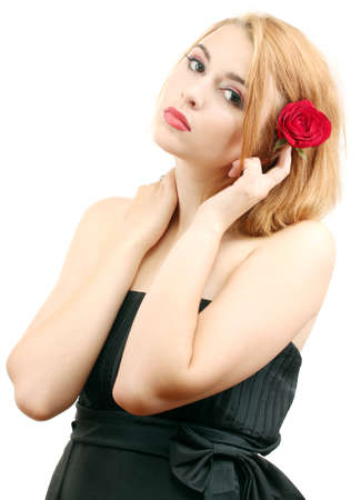 portrait of sexy young woman with red rose Stock Photo - 14559005