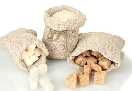 sucrose: Sack with different types of sugar isolated on white