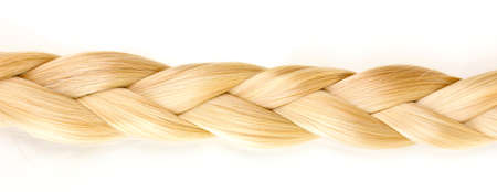 blond streaks: Blond hair braided in pigtail isolated on white