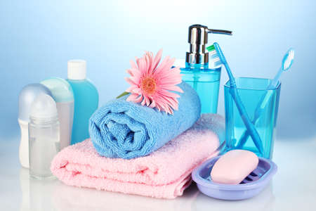 bathroom setting on blue background photo
