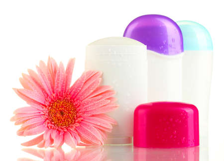 deodorants with flower isolated on white photo