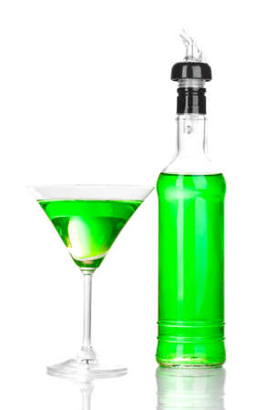 Tasty green cocktail isolated on white photo