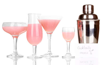 Tasty pink cocktails isolated on white photo