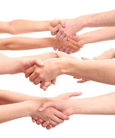 poign�es de main: groupe de mains des jeunes isol� sur blanc