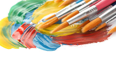 Abstract gouache paint and brushes, isolated on white Stock Photo - 14370327