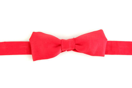 Red bow-tie isolated on white photo