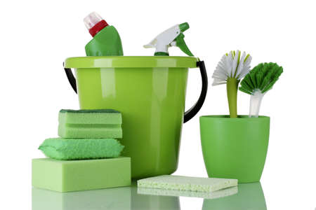 disinfect: cleaning products isolated on white