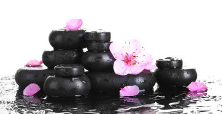 Spa stones with drops and pink sakura flowers on white background  photo
