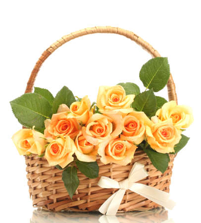 flower basket: beautiful bouquet of roses in basket isolated on white Stock Photo