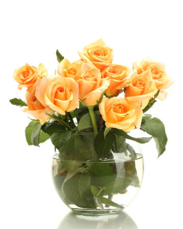 orange rose: beautiful bouquet of roses in transparent vase isolated on white