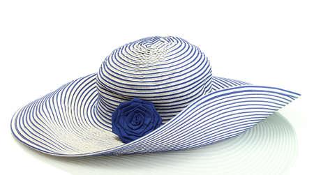 Belle femme chapeau d'été isolé sur fond blanc Banque d'images