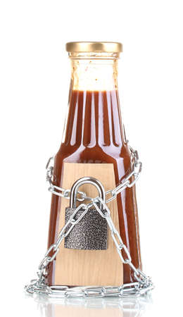 distinctive flavor: Secret ingredient with chain and padlock isolated on white