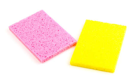 Cellulose sponges isolated on white Stock Photo - 14456159