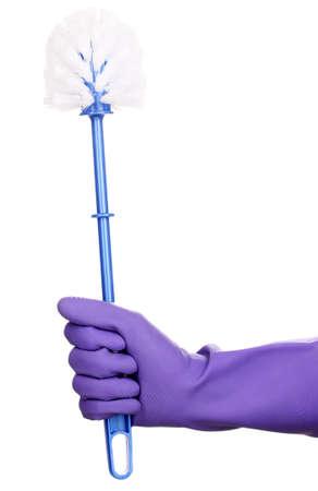 cleaning products: Cepillo de limpieza para el aseo en la mano aislados en blanco