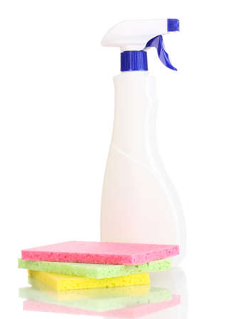 Cellulose sponges and spray isolated on white photo