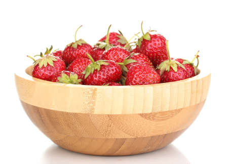 Sweet ripe strawberries in wooden bowl isolated on white Stock Photo - 14441566